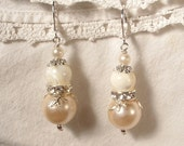 Vintage Ivory Pearl, Crystal and Mother of Pearl Silver Bridal Dangle Earrings