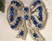 Bridal Brooch OR Hair Comb 1920s Art Deco Sapphire Blue & Clear Rhinestone Large Bow Brooch or Hair Comb, TRUE Vintage