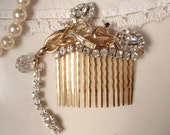 RESERVED Ooak Rhinestone Floral Bridal Hair Comb - 22K Gold TRUE Vintage Heirloom Brooch Comb Dangle ExQuiSitE
