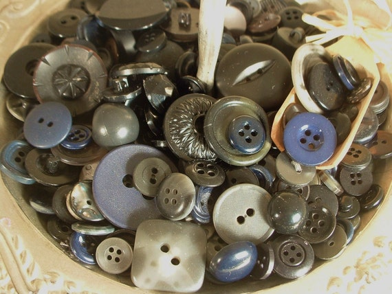 Vintage DARKS Black & Gray Sewing Buttons Assortment LOT of 50