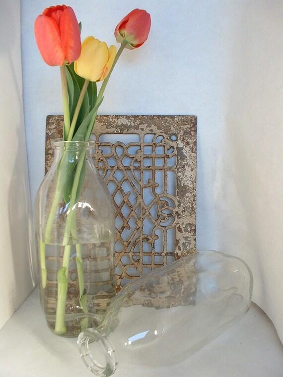 Sale PAIR of Vintage French Farmhouse Glass Quart Milk Bottles