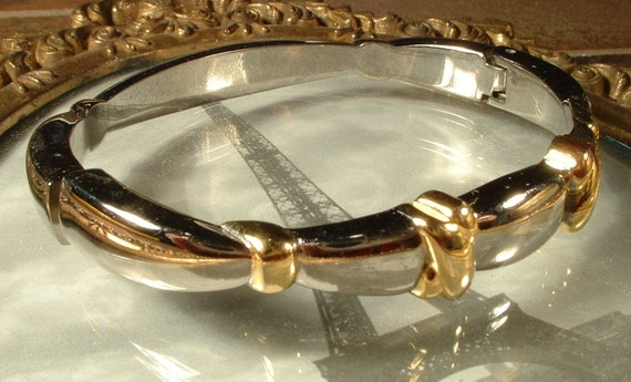 Vintage Gold and Silver Two Toned Clamper Bracelet 6.5 Inches