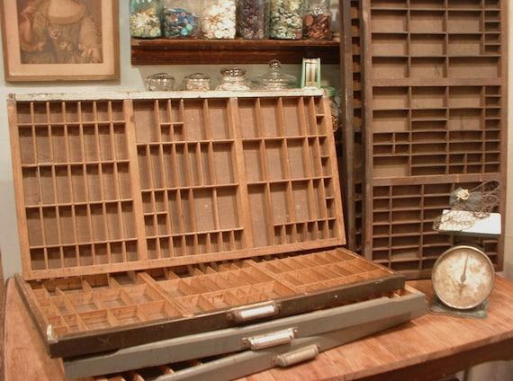 RESERVED SALE Antique 1875 Letterpress Printer Drawer Wooden Organizer