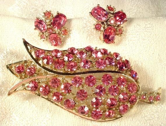 "RESERVED Bridal Hair Comb Vintage Large Pink Crystal Gold Tulip Flower, 3"" STUNNING"