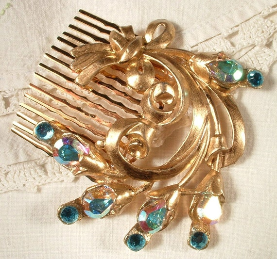TRUE Vintage Peacock Turquoise Blue Rhinestone Bridal Hair Comb - 22K Gold Heirloom Jeweled Hair Comb LARGE