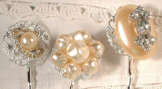 Vintage Ivory Pearl Rhinestone Silver Plated Bridal Bobby Pins, Jeweled Heirloom Hair Clips Set of 3