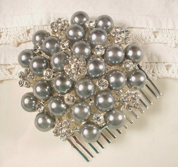 Silver Grey Pearl & Rhinestone Bridal Hair Comb - Heirloom Jeweled Silver Plated Comb BEAUTIFUL