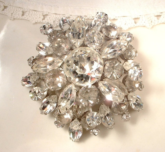 HUGE Layered Crystal Rhinestone Brooch STUNNING