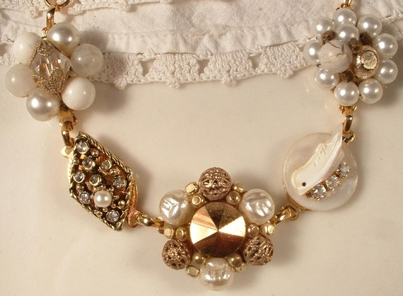Vintage Ivory Pearl & Rhinestone Antique Gold Bridal Bracelet, Heirloom Cluster Earring Bracelet OOAK