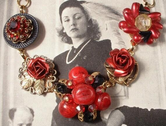 Reclaimed Vintage Cluster Earring Bracelet, Red Roses & Black Bead and Rhinestone, Gold Plated  Heirloom Bracelet