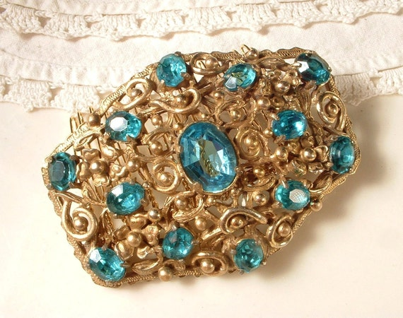 RESERVED Vintage Hair Comb, Aqua Turquoise Blue Rhinestone Gold Filigree Bridal Hair Comb, 22K Gold Plated Heirloom Brooch to OOAK Comb