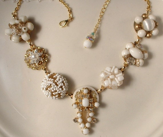 OOAK Vintage White Wedding Milk Glass & Rhinestone Gold Bridal Necklace, Heirloom Cluster Earring Necklace