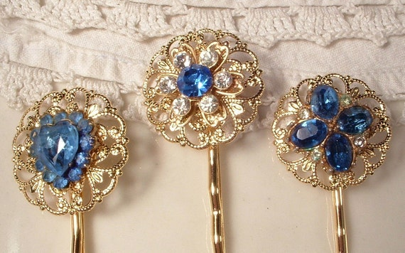 Vintage Sapphire Blue & Clear Crystal Gold Bridal Hair Pins - 22K Gold Heirloom Jeweled Hair Clips Set of 3