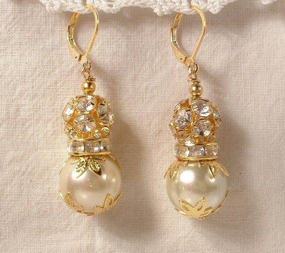 RESERVED Vintage Luscious Ivory Pearl & Rhinestone Ball Gold Bridal Dangle Earrings