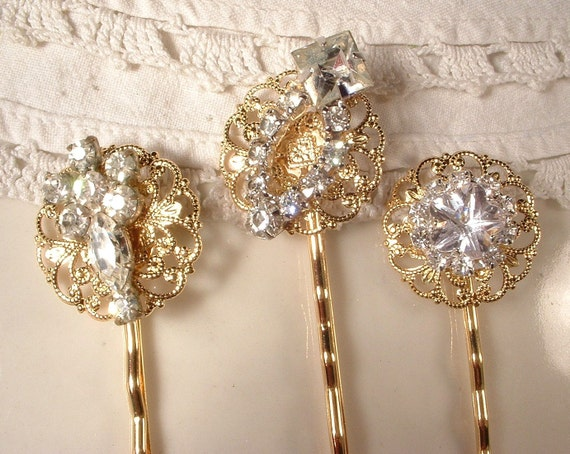 Vintage Clear Rhinestone on Gold Jeweled Bridal Bobby Pins - 22K Gold Heirloom Jeweled Hair Clips Set of 3