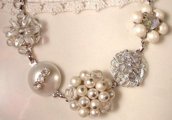 Vintage White Pearl, Crystal & Rhinestone Bridal Bracelet, Cluster Earring Bracelet OOAK Heirloom