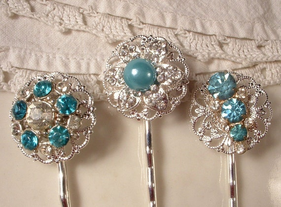 RESERVED Turquoise Blue Rhinestone Bridal Hair Pins - Silver Plated Heirloom Jeweled Hair Clips Set of 3