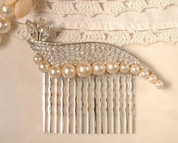 True Vintage Art Deco Rhinestone & Pearl Bridal Hair Comb, Vintage Silver Plated Heirloom SIGNED Brooch Hair Comb