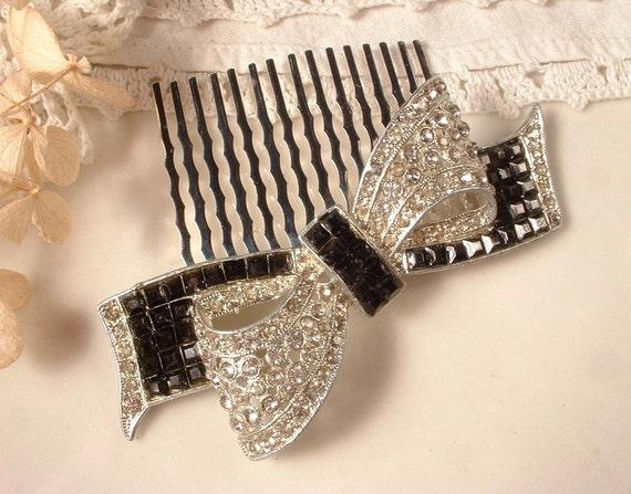 1920s Art Deco Black & Clear Rhinestone Bridal Bow Hair Comb - Heirloom Vintage Brooch Silver Plated Haircomb OOAK