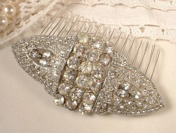 1920s Art Deco TRUE Vintage Rhinestone Bridal Hair Comb, Pave Crystal Encrusted Brooch Hair Comb
