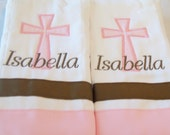 Set of 2 personalized burp cloths with cross