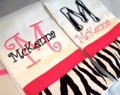 Set of 2 personalized monogrammed burp cloths zebra and pink