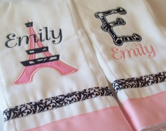 set of 2 personalized burp cloths french tower and initial pink and black