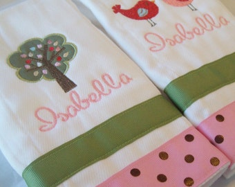 set of 2 personalized burp cloth bird and tree