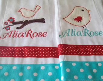 Set of 2 personalized burp cloths bird and tree in teal and red