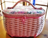 Vintage Pink Woven and Floral Print Sewing Basket by Kowgirl Kitsch on Etsy