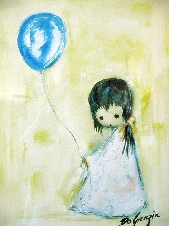 Vintage Degrazia Print Of Girl With Blue Baloon Yellow