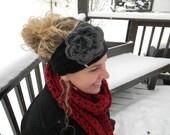 Women's Headwrap--Women's Earwarmer--The Lauren Headrwap--Black with Charcoal Rose--Clearance Sale