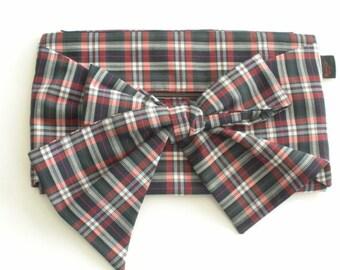 Vintage Plaid Purse - Bow Clutch Purse - Clutch Purse - 1960s Vintage Fabric