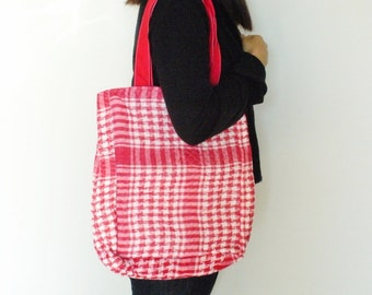 Red Tote Bag, Large Quilted Bag, Back to School Bag, Work Bag, For Shopping