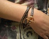Gold Studded Leather Wrap Bracelet