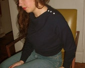 In The Navy Sweater - vintage asymmetrical collar cashmere wool