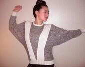 Barn Swallow - vintage dolman sleeve wool heather gray sweater