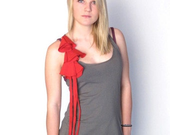 HYPERCLASH Bell Flower Racer Tank Top Small Grey Red Womens Shirt Repurposed Upcycled Deconstructed Reclaimed Eco Friendly Fashion Design