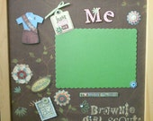 JUST BEING ME Brownie Girl Scout Memory Album Page (Natural Veneer Shadow Box Frame Sold Separately)
