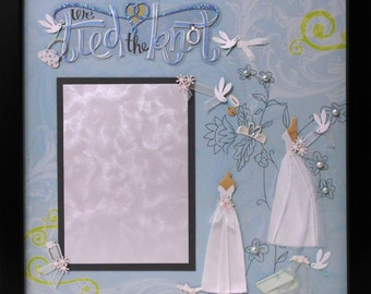 TIED THE KNOT Wedding Memory Album Page (Black Veneer Shadow Box Frame Sold Separately)