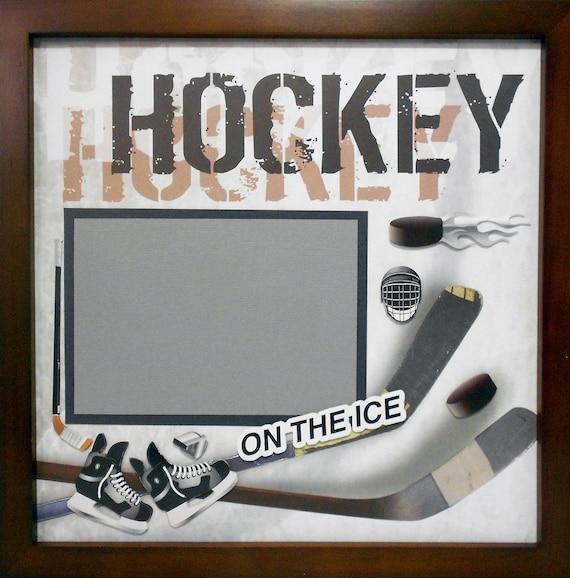 Ice Hockey Scrapbook Page Walnut Veneer Shadow Box Frame Sold