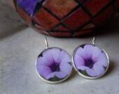 Purple Flower. Short Dangle Photo Earrings. Sterling Silver