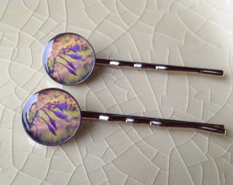 Niles Flower/River.  Silver Photo Bobby Pins
