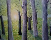 El Bosque - 16 x 20 Abstract Forest Landscape - Original Painting