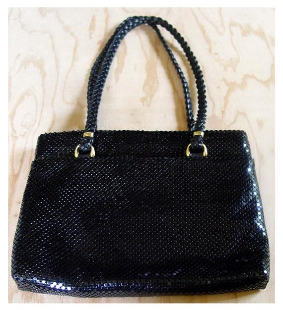 Metal Mesh Purse Black Armor Purse 80s Vintage  Shoulder Bag