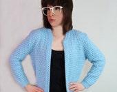 60s cardigan sweater - Pretty in Powder Blue - open front