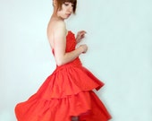 80s dress saloon girl - The Scarlet Lady - red party ruffle
