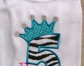 Crown Princess Birthday Shirt/ Size 12m- 10/12