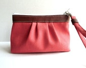 Pleated zipper wristlet - Eco friendly cotton twill -jalapeno