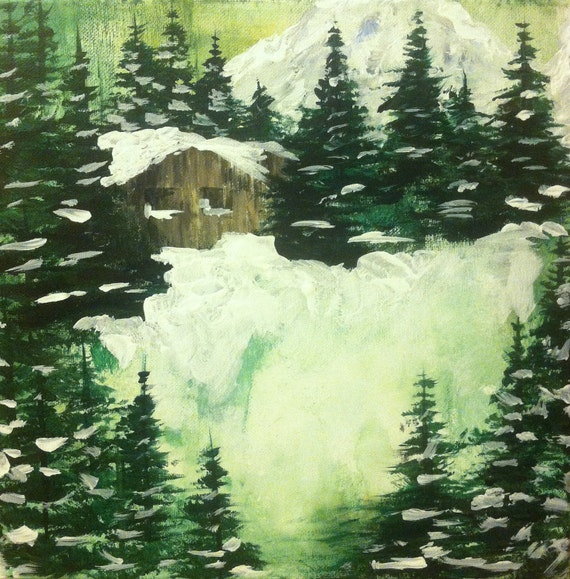 Cabin In The Woods Acrylic Painting By Sageandrosemary On Etsy